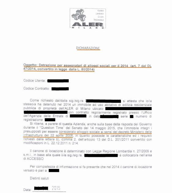 Dichiarazione dell'Ente proprietario dell'alloggio