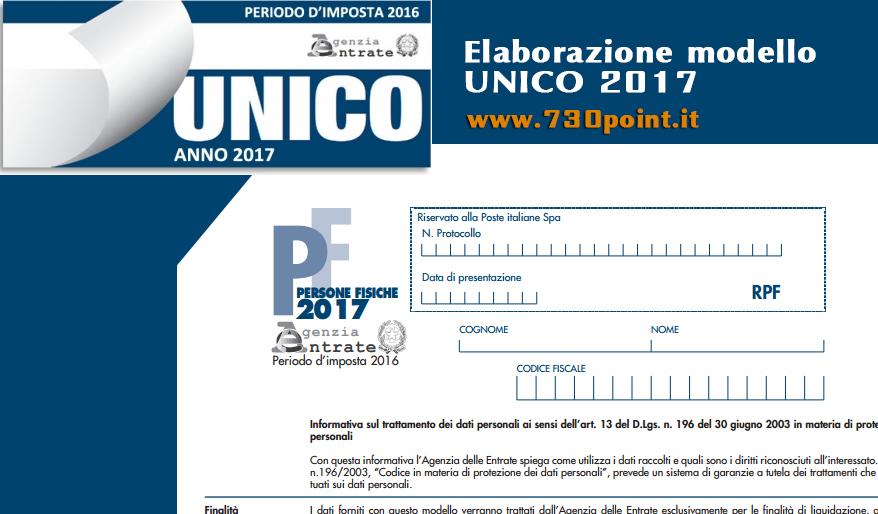 Elaborazione dichiarazione dei redditi modello UNICO 2017 Milano
